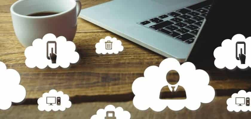 Composite image of laptop and coffee on a desk with cloud icons growth hacking méxico El growth hacking México OCIFUT0 840x400